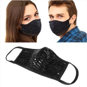 New HANDMADE in USA Black Hologram Sequin Facemask